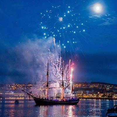 Fireworks from tall ship