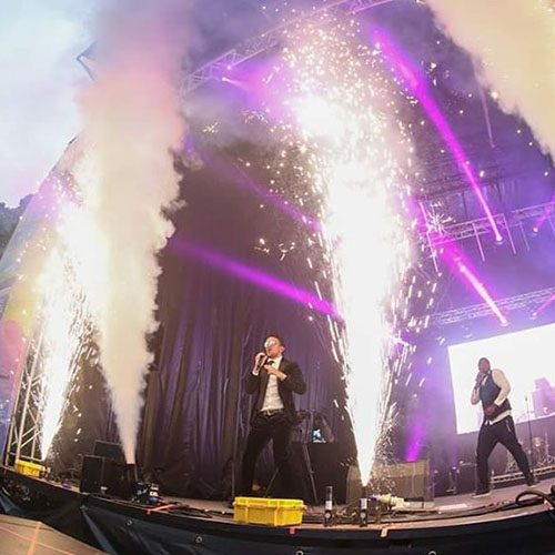 Pyrotechnics at concert