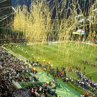 Yellow ticker tape at sporting event